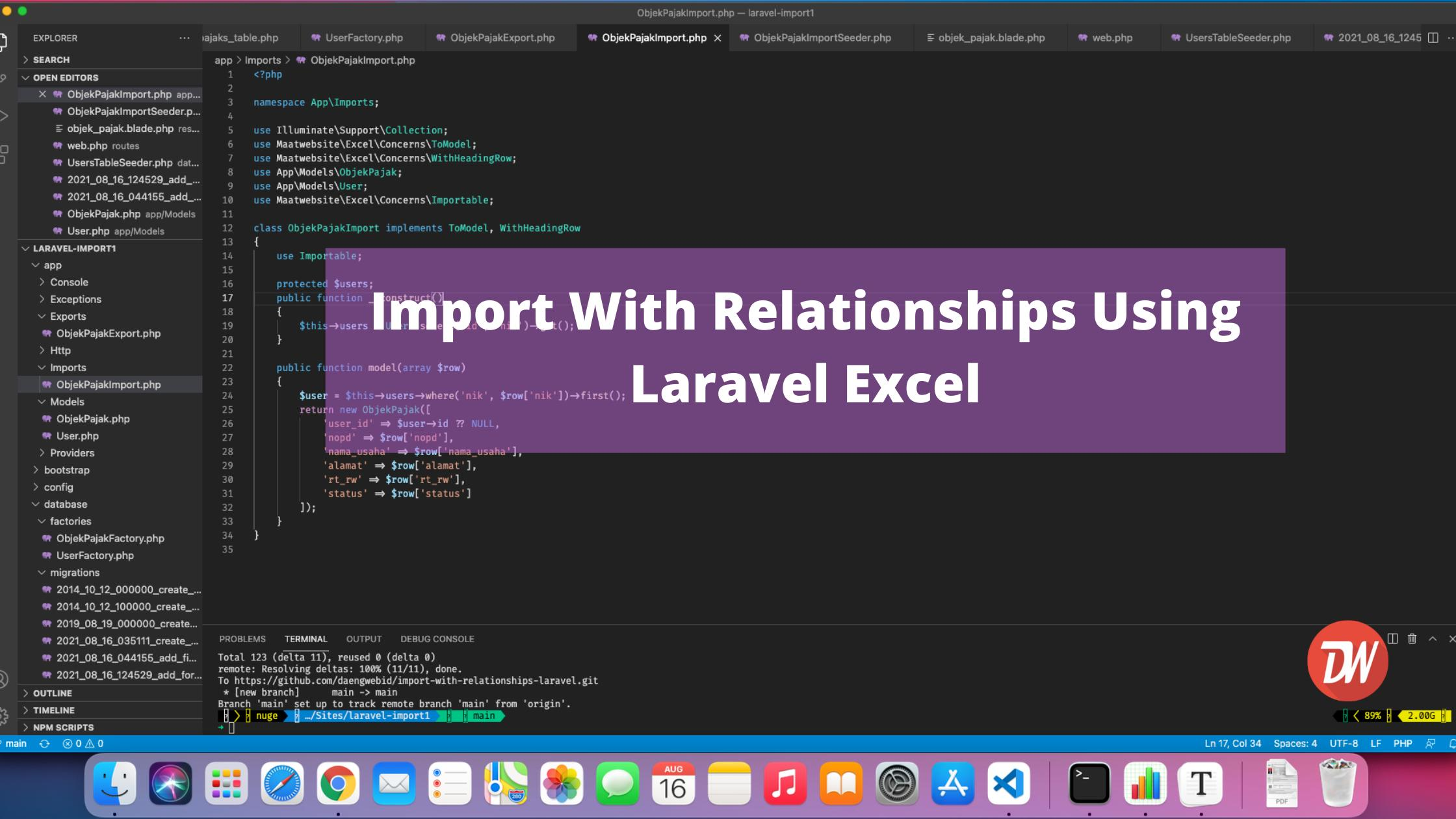 Import With Relationships Using Laravel Excel